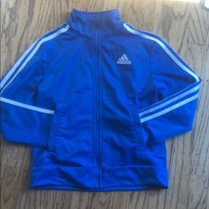 Blue and white Adidas jacket